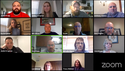 Screenshot of all board members and school principals during Wednesday's board meeting held on Zoom