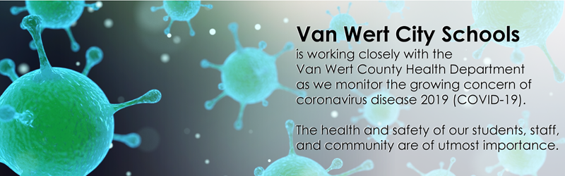 VWCS is working closely with VW Health Department regarding the coronavirus with a graphic of germs in the background