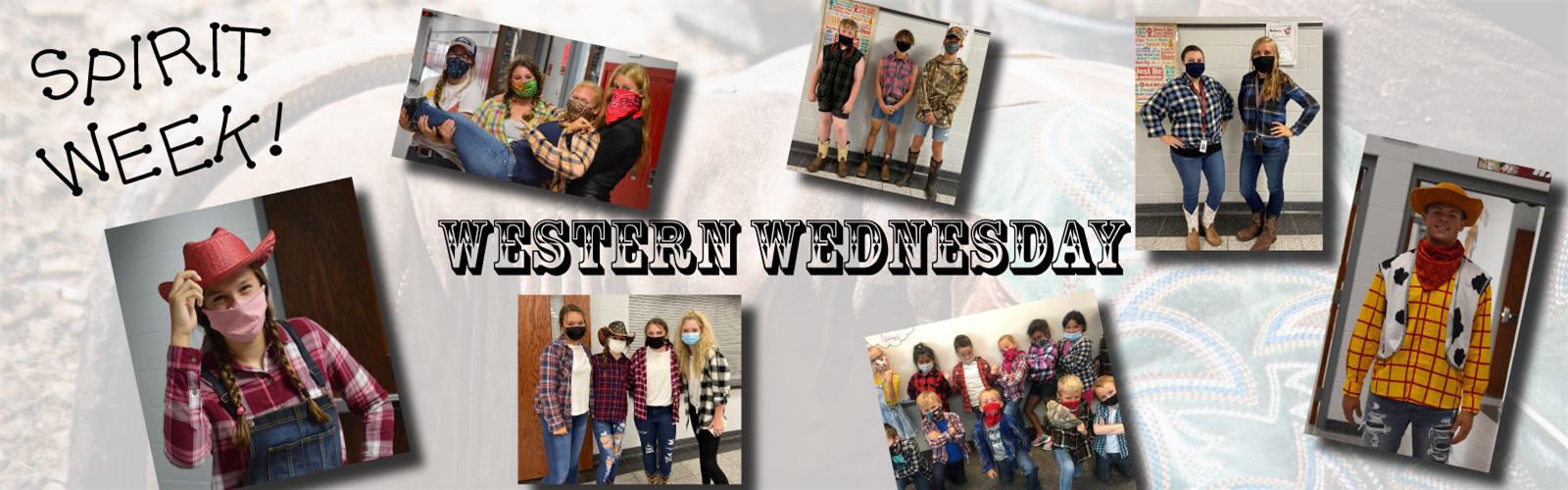Various pictures of staff and students dressed up for Western Wednesday during sprit week