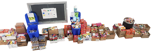 Middle School Food Drive donations